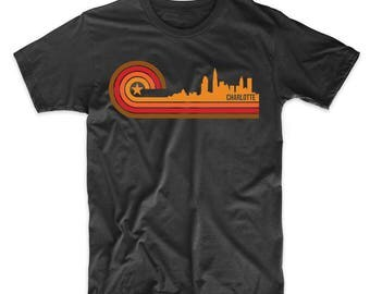 Retro Style Charlotte North Carolina Skyline T-Shirt