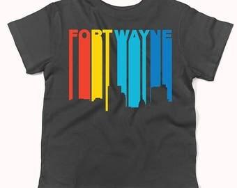 Retro 1970's Style Fort Wayne Indiana Skyline Infant / Toddler T-Shirt