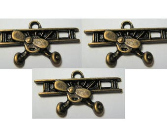 Old Style Airplane Finding Bronze Antiqued Color Biplane Charm 3 Piece Lots
