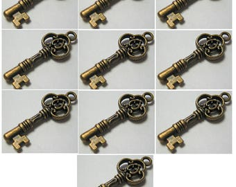 Small Key Charm Pendant Bronze Antiqued Brass Color Qty 10