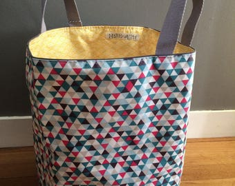 Child's toy basket or hamper in waterproof laminated cotton