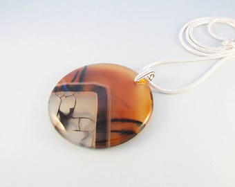Golden brown and white stone necklace / black veined agate pendant / silver chain