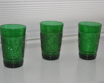 3 Anchor Hocking Sandwich Forest Green Juice glasses