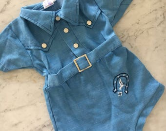 Baby Cowboy Onesie in baby blue