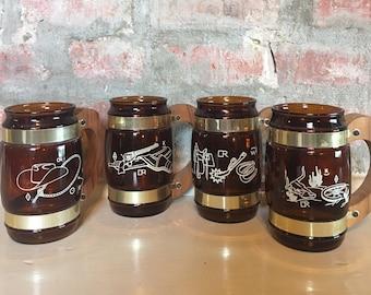 Siesta Ware Western Themed Amber Mugs // Set of 4 Siesta Ware Print Mugs // 1960's