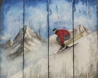 Skier Oil Painting on Wooden Slats