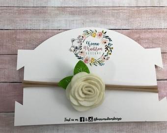 Small white felt flower Headband