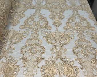 Lace Fabric - Embroidered Sequin Mesh Champagne Bridal Wedding Dress By The yard