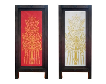 Mulberry Saa Paper Thai Table Lamp Tree in Bamboo Grove Red or White background