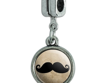Curly Mustache Italian European Style Bracelet Charm Bead