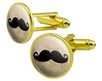 Curly Mustache Round Cufflink Set Gold Color