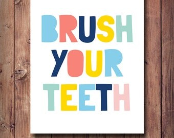 60% OFF Brush Your Teeth, Bathroom Decor, Bathroom Print, Bathroom Rules, Brush Your Teeth Poster, Kids Bathroom Decor, Scandinavian Kids