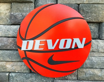 Custom 12 Inch Round Basketball Name Sign - Playroom Decor - Basketball Lover - 3D Sign - Custom Sports Sign - Raised Wooden Letters