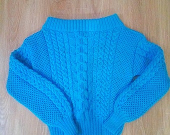 Cable knit blue oversize warm sweater Hand made Knitted jumper Pullover cable jumper Off shoulder sweater Ruban style Hand knit sweater