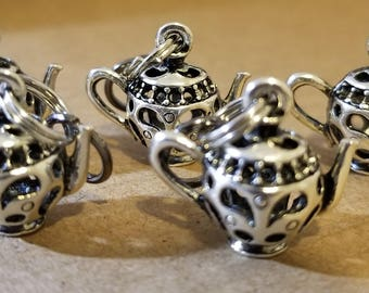 Stitch Markers. Set of 5 whimsical tea pots, ready for your project.