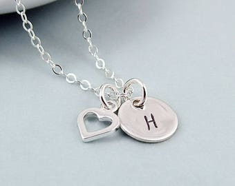 Personalized initial necklace and capital heart Silver 925/000