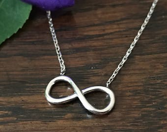 Silver infinity necklace-925 - sterling silver necklace 45 cm