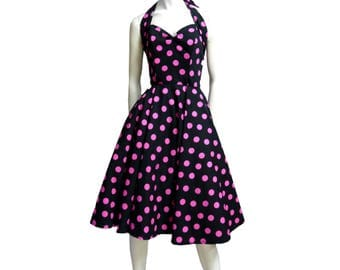 Poodle 50s polkadot dress gown shocking pink & black size S as New