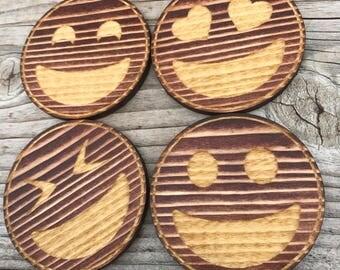 Emoji Laser Engraved Drink Coasters