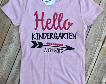 Girls Hello Kindergarten Back To School Top