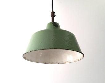 Olive green enamelware pendant lamp / hanging lamp / fixture (2)