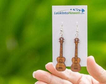 Ukulele Hanging Earrings - Koa Wood - Free Shipping. Made in Hawaii. Aloha