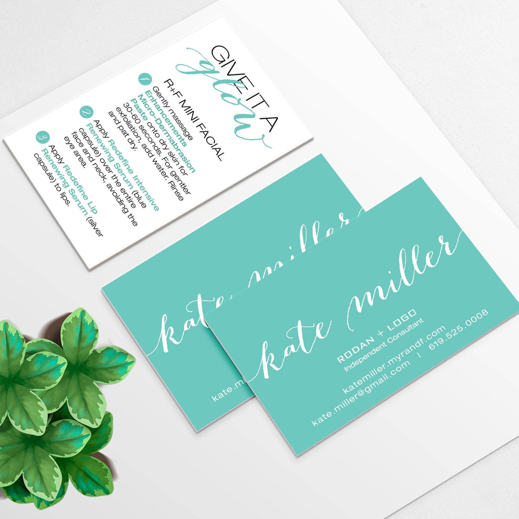 rodan and fields business card and mini facial instruction cards