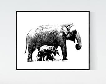Elephant with baby printable artwork, digital print, elephants black and white 8x10 printable, elephant print, instant download