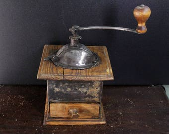 antique 1910-20s Swedish wood metal  coffee grinder mill working