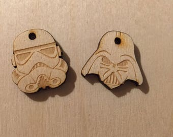 Custom Engraved Darth Vadar and Storm Trooper Wood Pieces