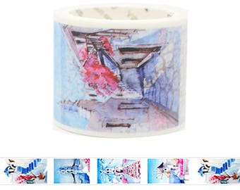 Travel Edition for Scrapbook - Greece Watercolor Painting Washi Tape
