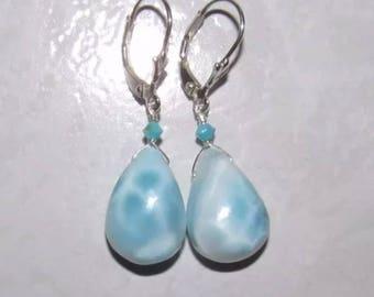 Genuine Natural 26 carat LARIMAR teardrop briolettes sterling silver earrings