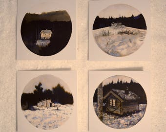 8 Different Winter Wonderland Christmas Cards (8 in total)