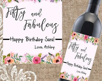 50th Birthday Gift, Personalized Birthday Label, Custom Birthday Wine, 50th Birthday Wine Label, Custom Birthday Wine Label, Birthday Gift