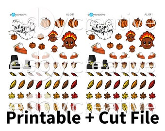Thanksgiving Deco - Hand Drawn Printable Planner Stickers + Cut File - AL-041 - INSTANT DOWNLOAD