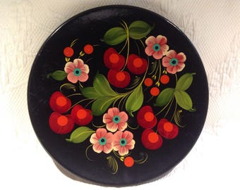 Russia wood - red and pink flowers decorative plate - hand - painted Souvenir of trip / / made in Russia
