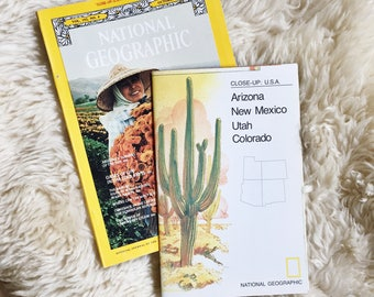 Vintage National Geographic Magazine  & Southwest Map // Vol 152, No 4 October 1977