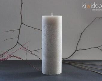 "Handmade Rustic Pillar Large Candle Gray Silver 85 x 240mm (3.34 x 9.44"") Scandinavian design Home decor"