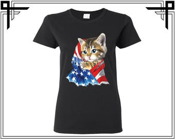 Kitty Shirt American Flag Shirt Kitty Tshirt Cat America 4th Of July Gift For Her Womens Top Womens Shirt Womens Tshirt Tee Top Cat