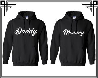 Daddy Mommy Couple Hoodie Couple Hoodies Hooded Sweatshirt Valentines Day & Anniversary Gift For Parents Gifts For Him And Her Mom Dad