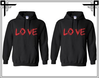 Love Couple Hoodie Love Hoodie Couple Hoodies Hooded Sweatshirt Party Top Valentines Day & Anniversary Gift For Couples Gift For Him And Her