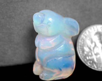 Carved Opalite Bunny Rabbit Fetish Totem Animal Spirit Figurine c9785