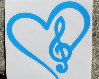 I Love Music Heart Vinyl Decal