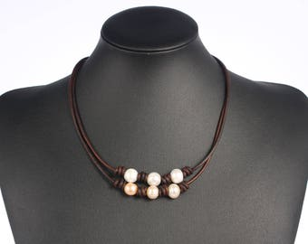 Leather Pearl Necklace, Leather Necklace, Pearl Leather Necklace, Pearl Necklace, Freshwater Pearl Jewelry, White and Pink Pearl Necklace