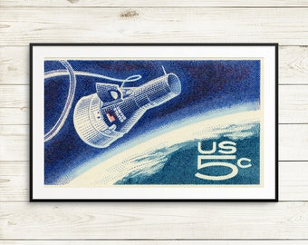 Space fathers day gifts, Project Gemini, large blue poster, Gemini 4, nasa travel posters, first space walk nasa, kids room space art, print