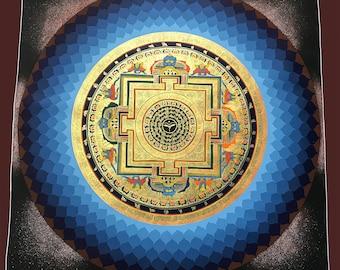 Round Lotus Mandala Thangka - handpainted in Nepal