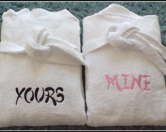 Toweling Robes - Dressing Gowns - Embroidered Robes - Personalized Bath Robes - His & Hers Robes - Wedding Gift - Cotton Robes