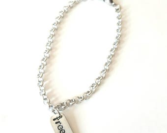 Gift IDEA bracelet with hanging plaque
