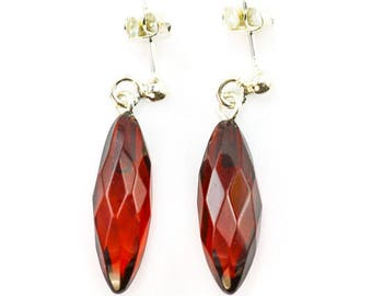 Amber , 925 sterling silver , cherry ,  natural stone, earrings