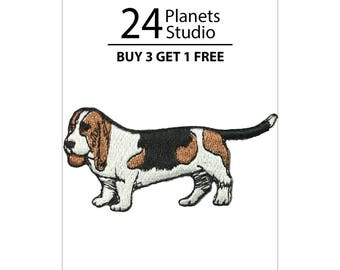 Basset Hound Iron on Patch by 24PlanetsStudio Cute Applique Cute Patch dog patch dogs